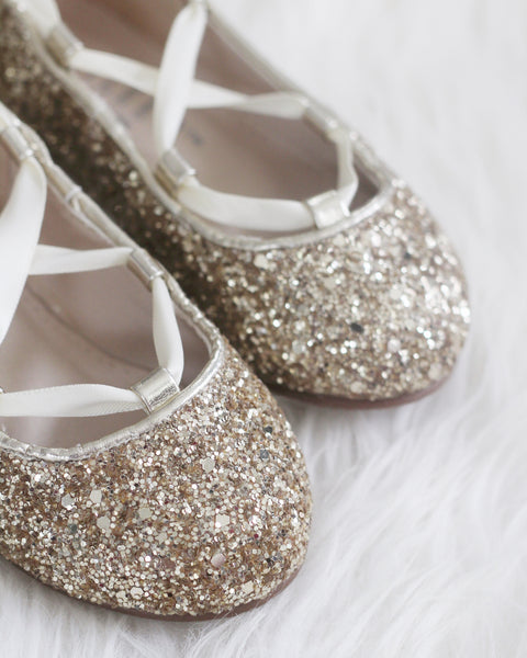 GOLD ROCK GLITTER ballerina flats with satin ribbon lace up