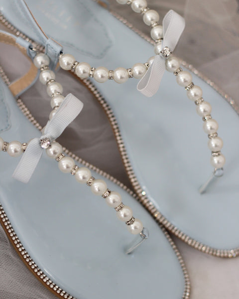 LIGHT BLUE/ SILVER Pearl T-Strap Flat Sandals With Rhinestones Embellishments