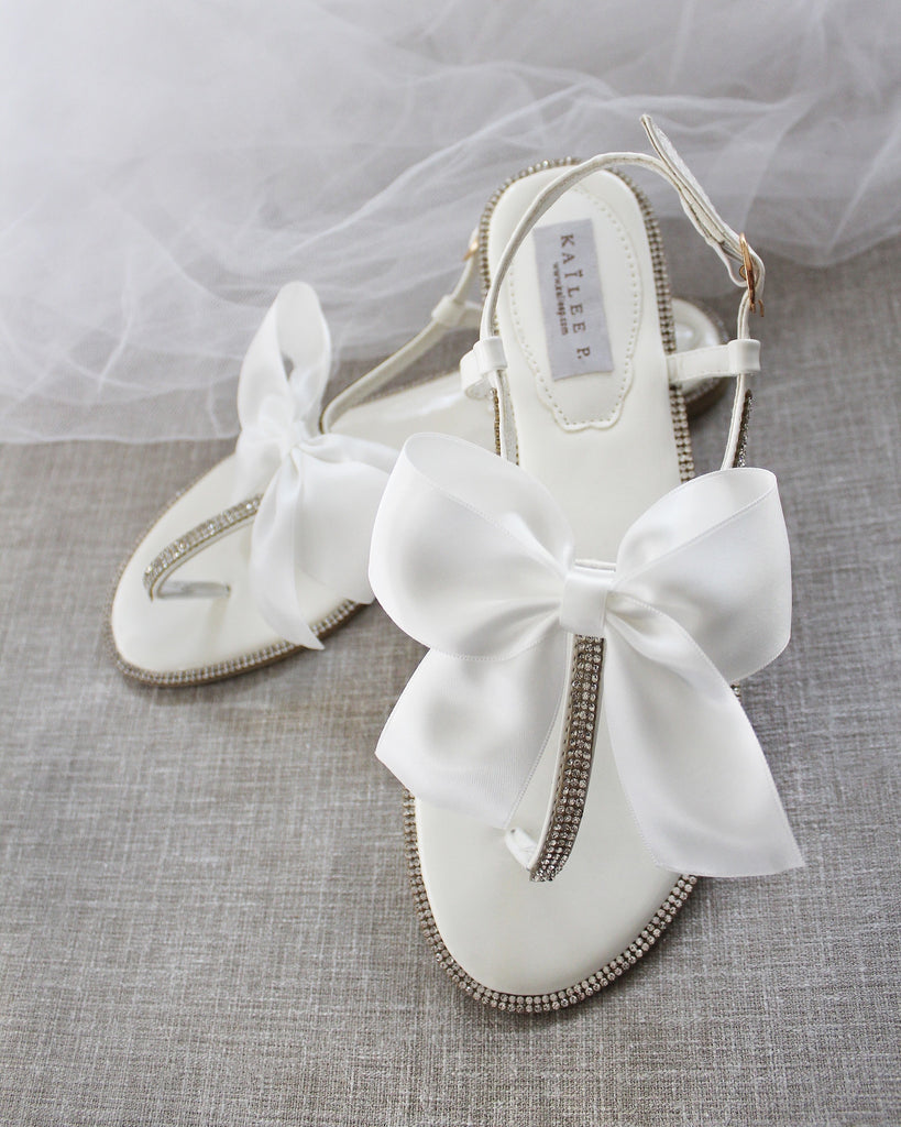 WHITE Sandals T-Strap Rhinestones Flat Sandals with Oversized Satin Bow
