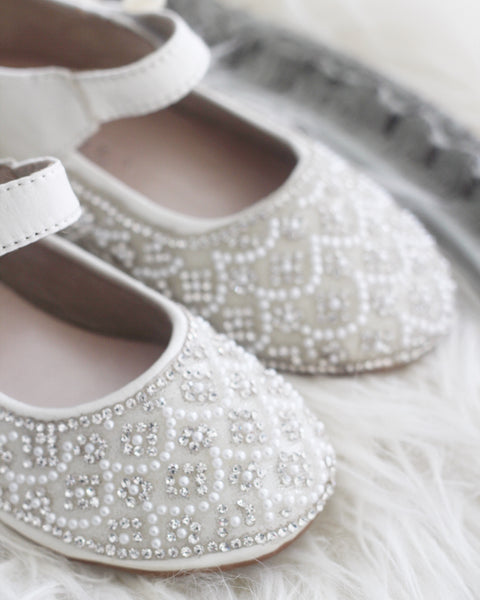 white baby shoes with rhinestones