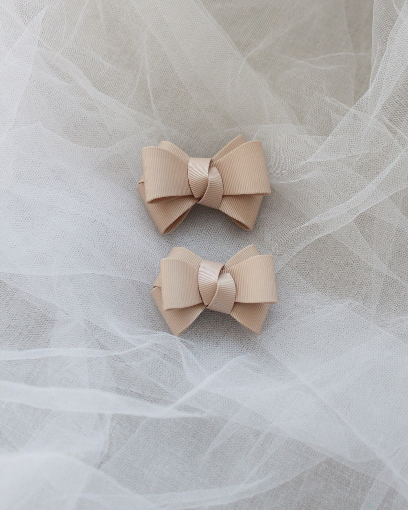 Champagne Grosgrain Bow HAIR CLIP or SHOE CLIP