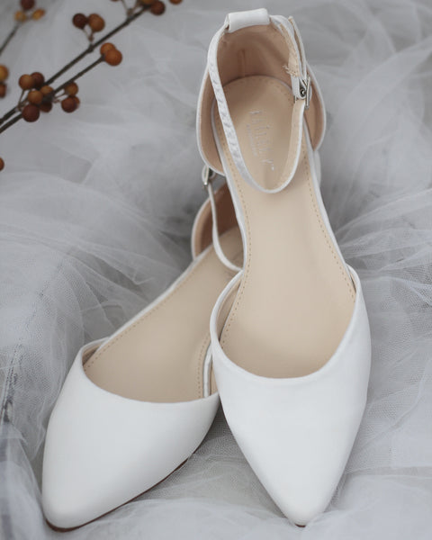WHITE Satin Pointy Toe Flats with Ankle Strap