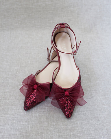 Burgundy Rock Glitter Pointy Toe Flats with Ankle Strap & ORGANZA BOW