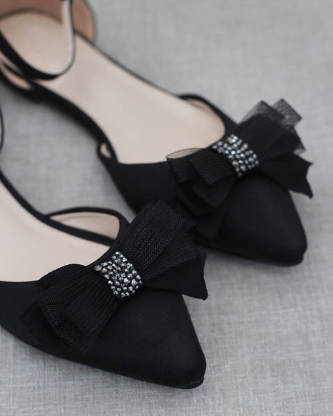 BLACK Pointy Toe flats with Sparkly Mesh Embellished Bow