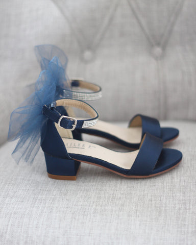 NAVY SATIN Block Heel Sandals with Tulle Bow