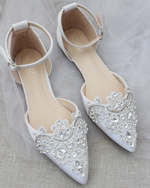 White Satin Pointy Toe Flats with RHINESTONES APPLIQUE Embellishments