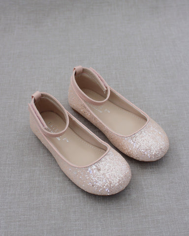 DUSTY PINK Rock Glitter Ballet Flats With Velcro Ankle Strap