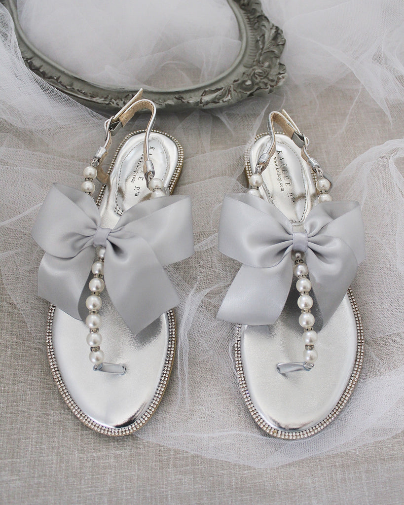 Girls - SILVER T-Strap Pearl Flat Sandals with Oversized Satin Bow