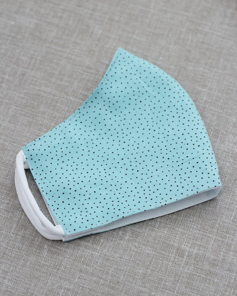 100% Cotton Turquoise Mini Dots Face Mask | Adult & Kids