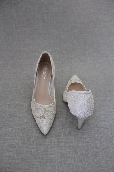 Ivory Crochet Lace Pointy toe PUMPS