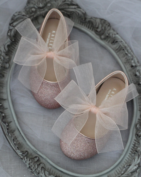 ROSE GOLD Fine Glitter Mary Jane with Chiffon Bow