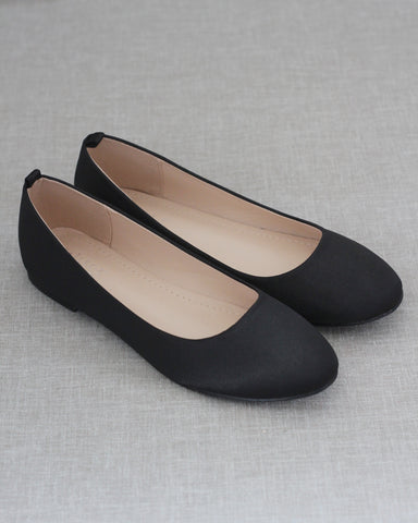 BLACK Satin Round Toe Slip on Flats