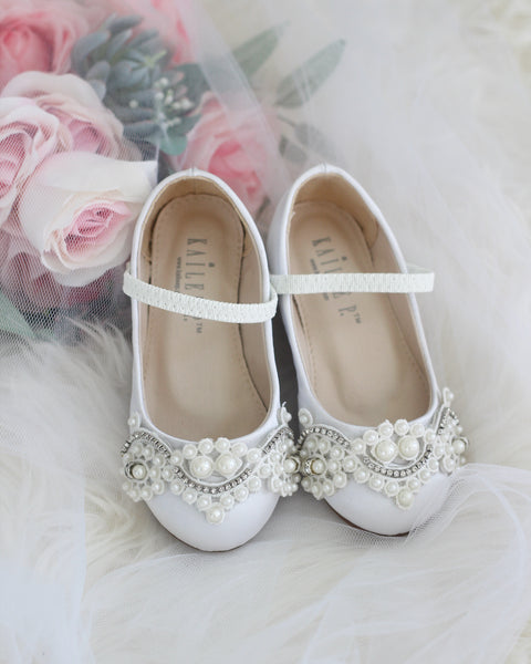 Girls WHITE Satin Maryjane Flats with Oversized Lace And Pearls Applique ,Kids Shoes- Kailee P