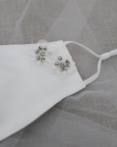 White Satin Face Mask with WHITE Flower Applique