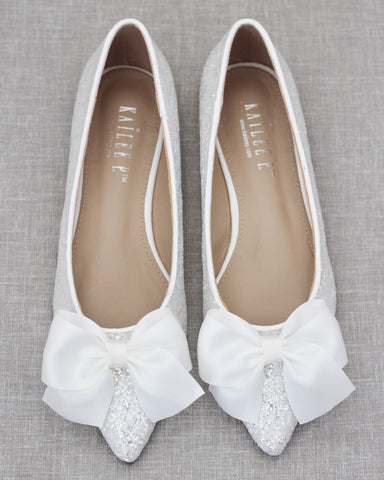 WHITE Pointy Toe Rock Glitter Flats with Satin Bow