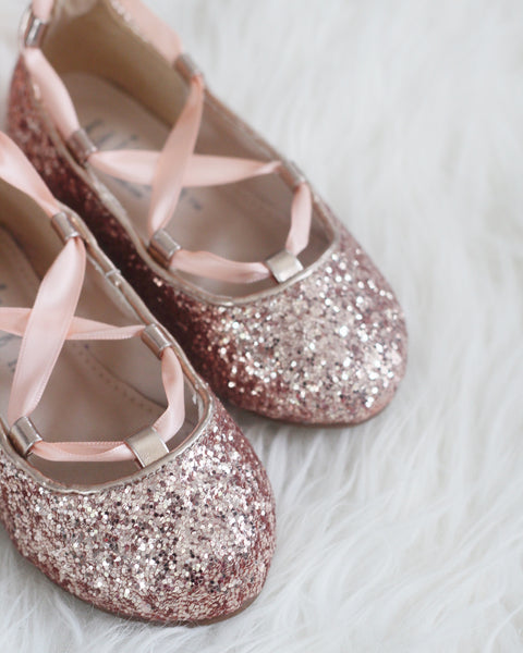 ROSE GOLD ROCK GLITTER ballerina flats with satin ribbon lace up