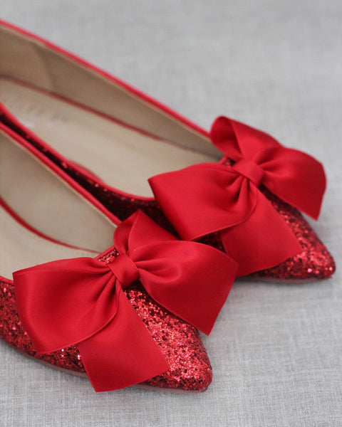 RED Rock Glitter Pointy Toe  Flats with Satin Bow