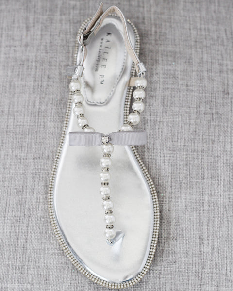 SILVER T-Strap Pearl Sandals With Rhinestones Embellishments