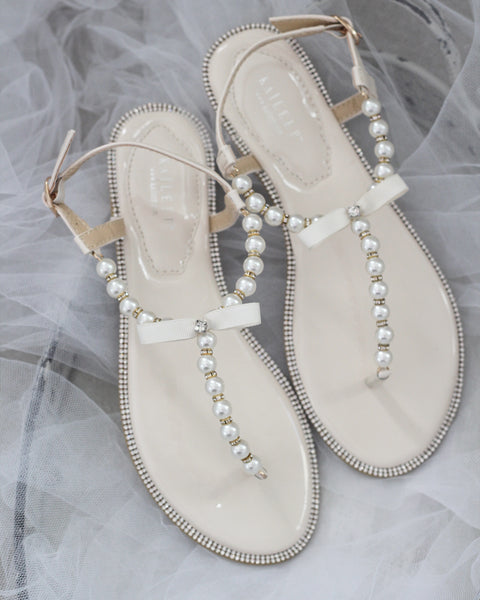 LIGHT BEIGE T-Strap Pearl Flat Sandals with Rhinestones Embellishments
