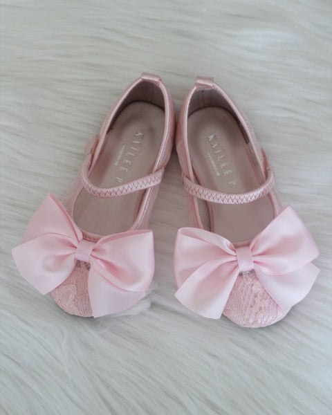 pink flower girls shoes