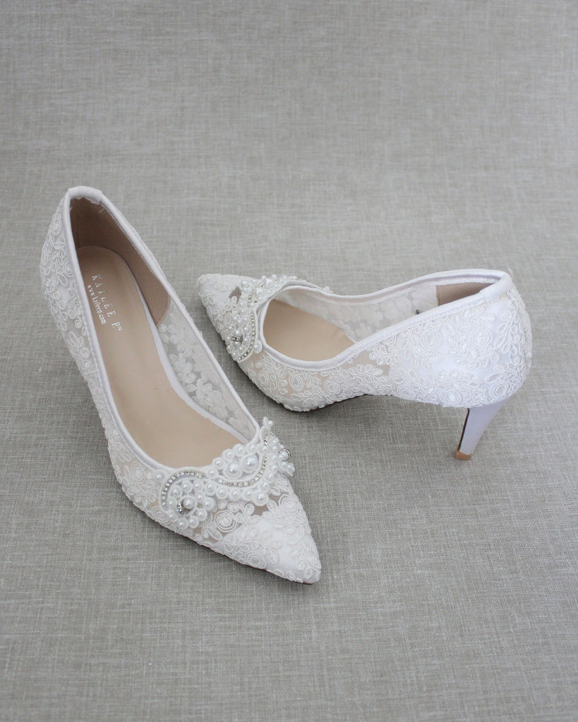 White Crochet Lace Pointy toe PUMPS with Small Pearls Applique