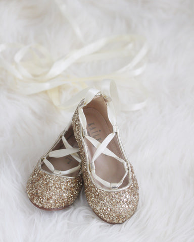 gold glitter ballet shoes