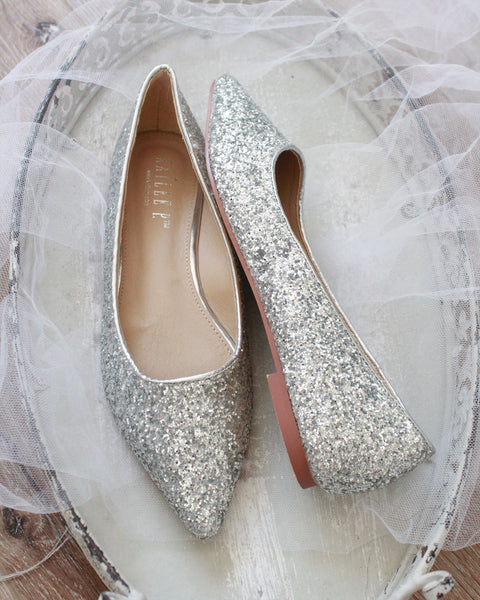 Women Glitter Shoes - SILVER Pointy Toe Rock Glitter Flats with Satin Bow