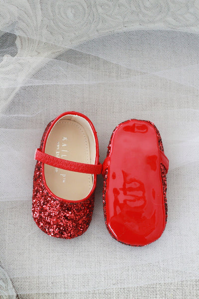 RED Rock Glitter Mary Jane Ballet Flats
