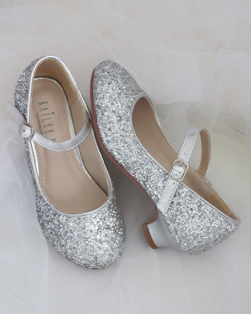 87ac301736d37 Silver Glitter Maryjane Heels For Girls - Formal Dress Shoes ...