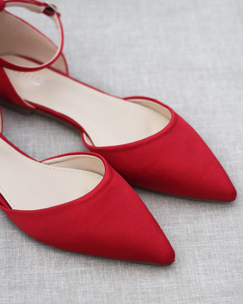 RED Satin Pointy Toe Flats with Ankle Strap