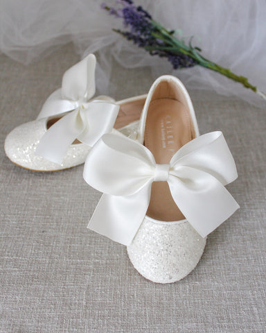 OFF WHITE Rock Glitter Maryjane Flats With OFF WHITE Satin Bow