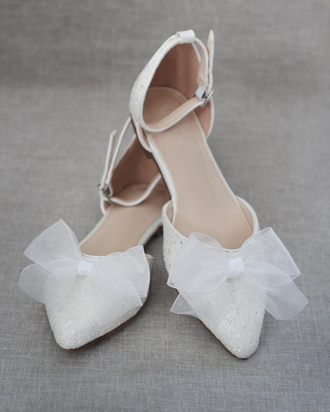 White Rock Glitter Pointy Toe Flats with Ankle Strap & ORGANZA BOW