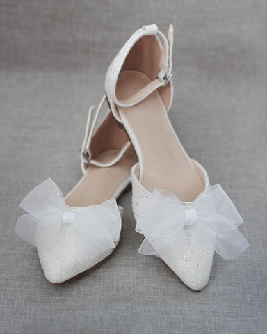 WHITE Rock Glitter Ankle Strap Flats with Organza Bow