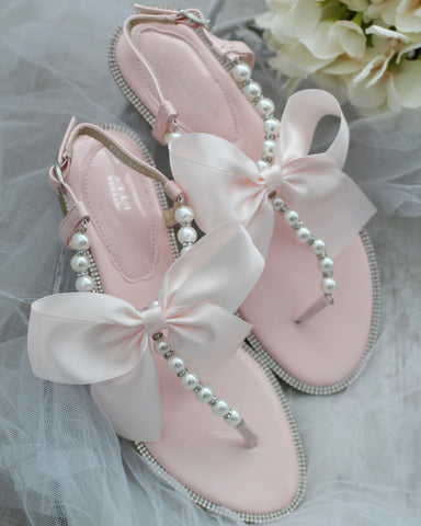 BLUSH T-Strap Pearl Flat Sandals with Oversized Bow