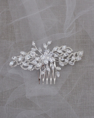Flower Rhinestones Mini Hair Comb