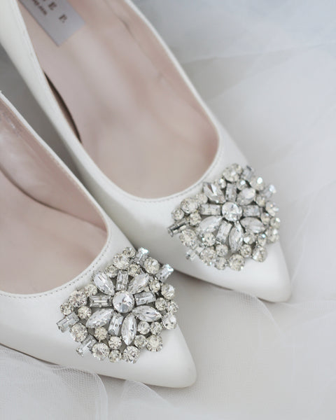 white wedding shoes with stones
