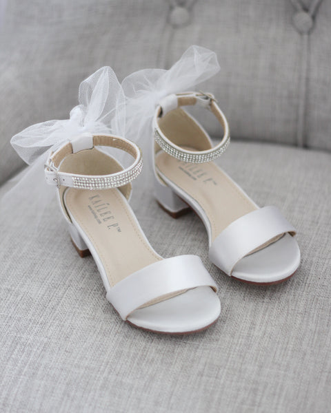 White Satin Block Heel Sandals with TULLE BACK BOW