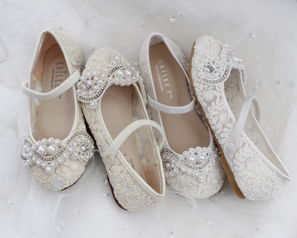 IVORY Crochet Lace Mary Jane Flats with Small Pearls Applique