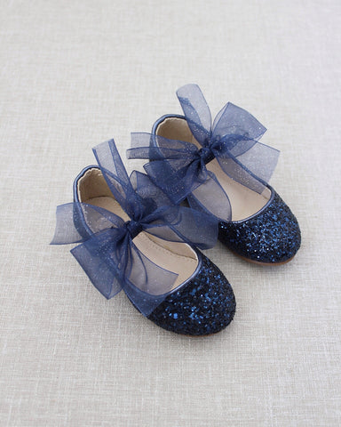 NAVY Rock Glitter Maryjane Flats With Chiffon Bow