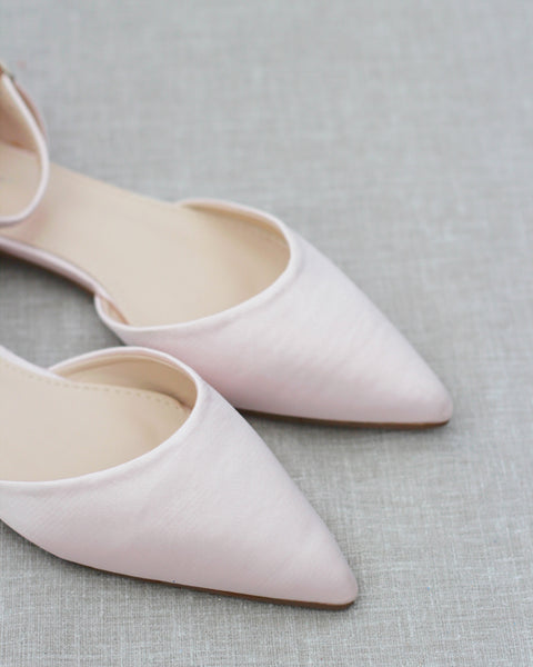 BLUSH Satin Pointy Toe Flats with Ankle Strap