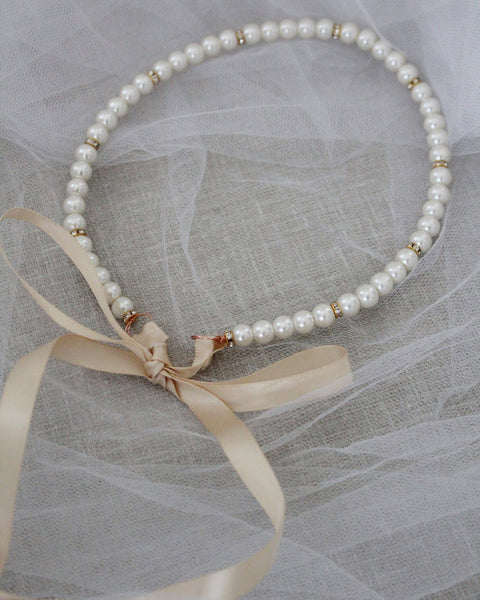 Classic All Pearls Headpiece with GOLD Beads