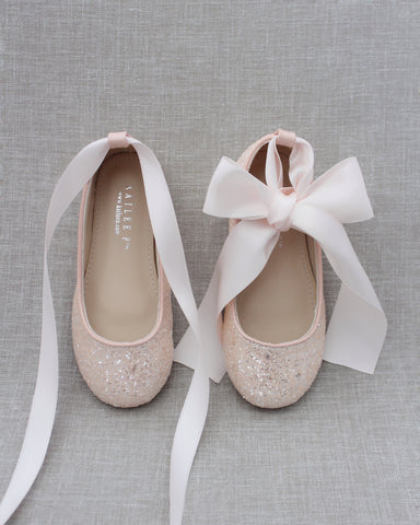 DUSTY PINK Rock Glitter Ballet Flats With Satin Ankle Strap