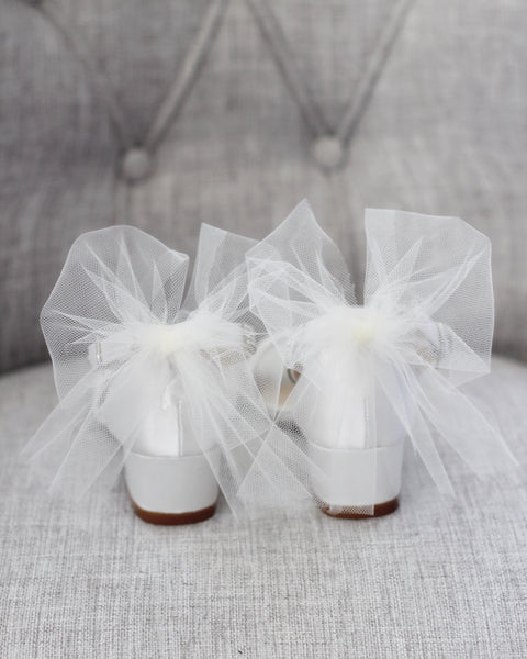 IVORY SATIN Block Heel Sandals with Tulle Bow