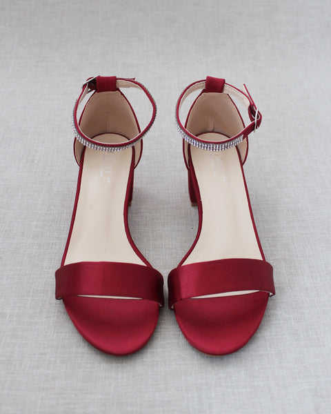 Burgundy Satin Block Heel Sandals with MINI RHINESTONES Embellished Ankle Strap