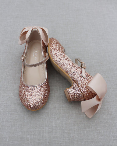 ROSE GOLD Rock Glitter Maryjane Heels With Satin Bow