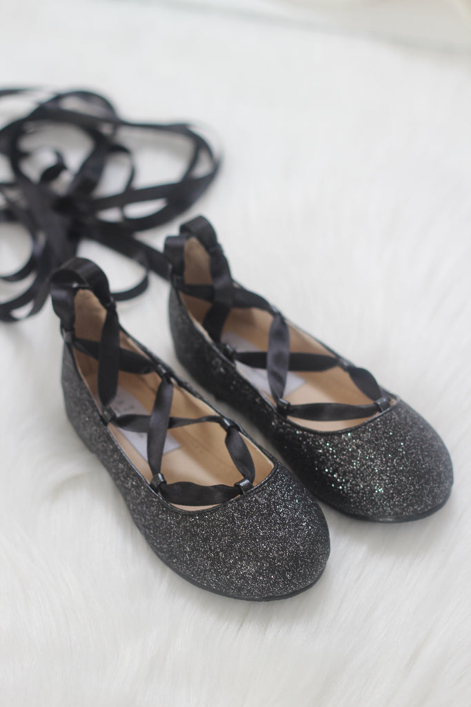 649dbfc7da9 ... Infant   Toddler girl shoes - BLACK fine glitter ballerina flats with  satin ribbon lace up ...