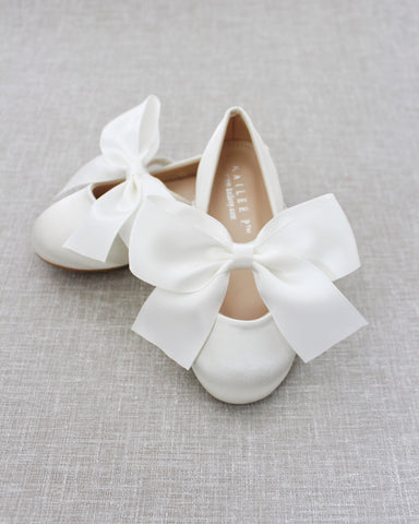 IVORY Satin Mary Jane Flats with Satin Bow