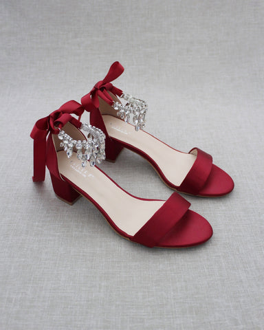 BURGUNDY SATIN Block Heel Sandal with Embellished DANGLED RHINESTONES Ankle Strap