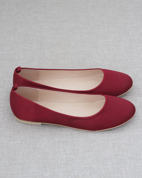 BURGUNDY Satin Round Toe Slip on Flats