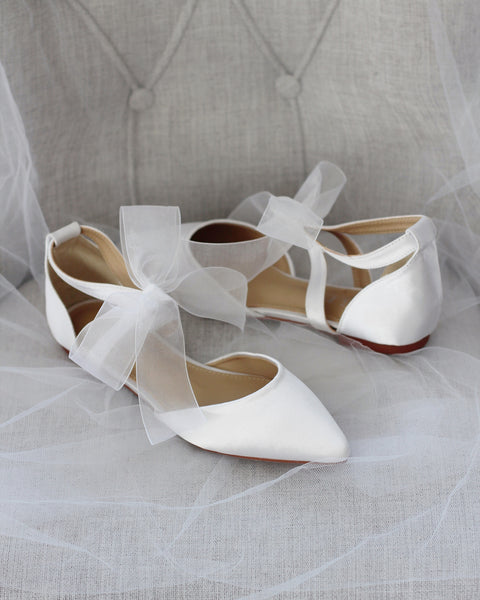 White Satin Pointy Toe Flats with CHIFFON RIBBON TIE